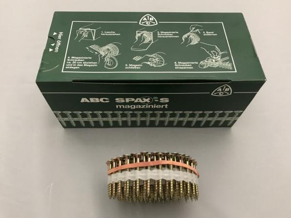 SPAX Universalschraube magaziniert, 5 x 45 mm, 500 Stück, Teilgewinde, Senkkopf T25, verzinkt