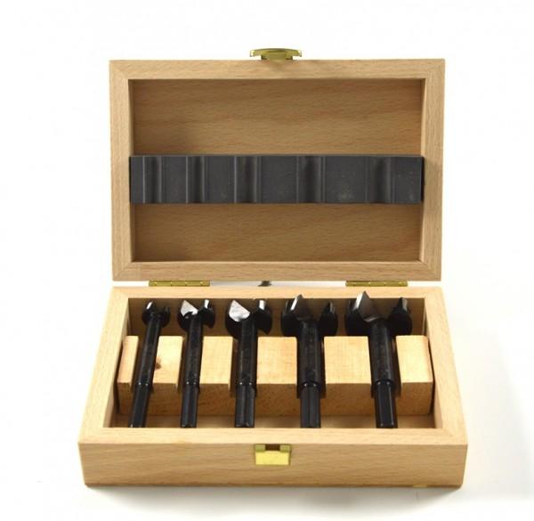 Bohrmax Set 5-teilig im edlen Holzkasten, mit Dreikantschaft